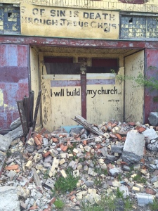 Broken down and abandoned church buildings within walking distance of Cass Community Social Services. Photo credit: Nicholas Laccetti.